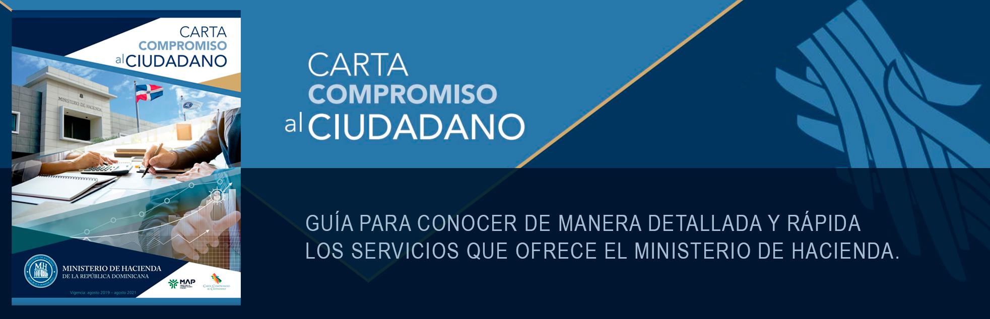 Banner para acceder a la carta de compromiso al ciudadano del Ministerio de Hacienda y conocer los servicios que ofrece el ministerio