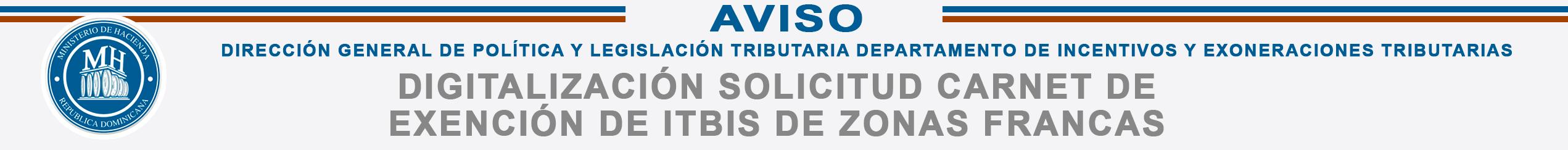 Aviso carnet de exención de ITBIS